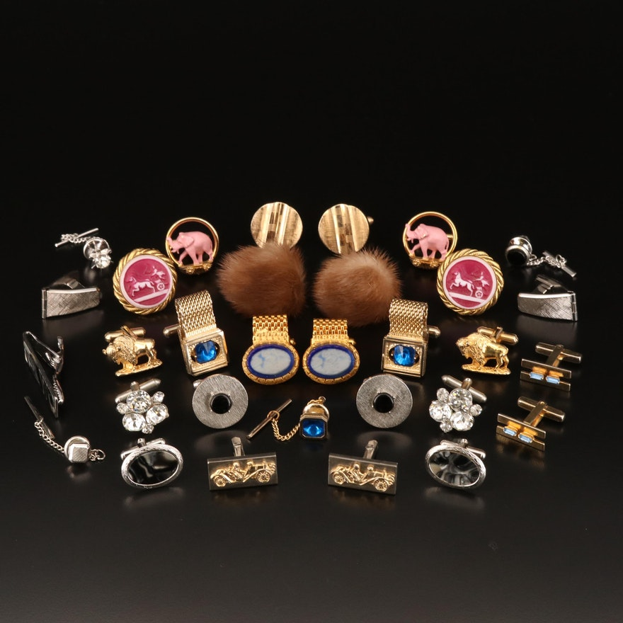 Cufflinks, Tie Bar and Tie Tacs Including Mink, Black Onyx and Rhinestones