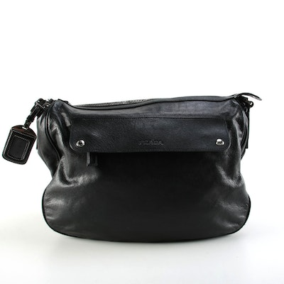 Prada Two-Way Shoulder Bag in Black Leather