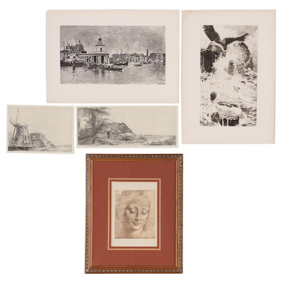 Pierre Teyssonnières Etching and Photomechanical Prints after Old Masters