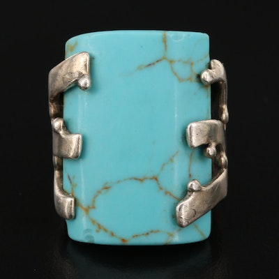 Sterling Silver Faux Turquoise Scrollwork Ring