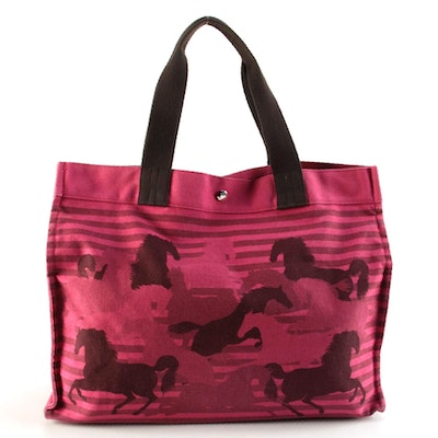 Hermès Chevaux En Camouflage Beach Tote in Magenta Cotton Canvas