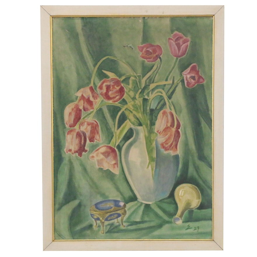 Fritz Edler Still Life with Flowers Oil Painting, 1927