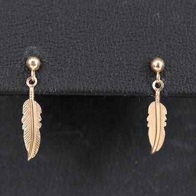 14K Feather Drop Earrings