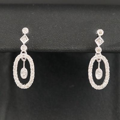 14K Diamond Oval Earrings
