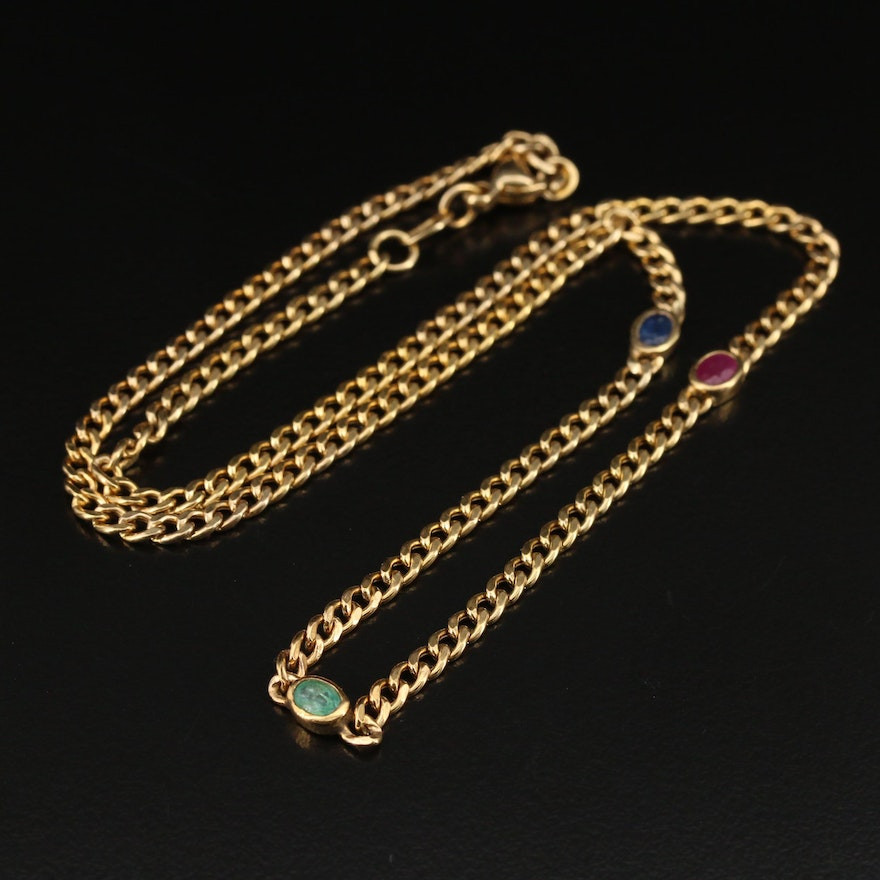 Vintage 8K Sapphire,  Emerald and Ruby Curb Link Station Necklace