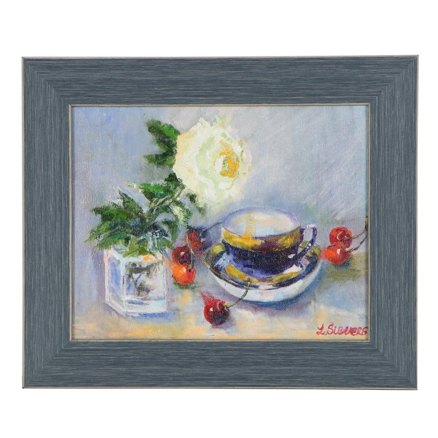 """Larissa Sievers Impressionist Style Oil Painting """"Still Life with White Rose"""""""
