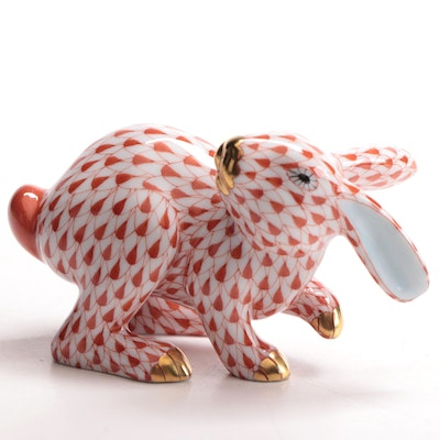 "Herend Rust Fishnet ""Running Rabbit"" Porcelain Figurine"
