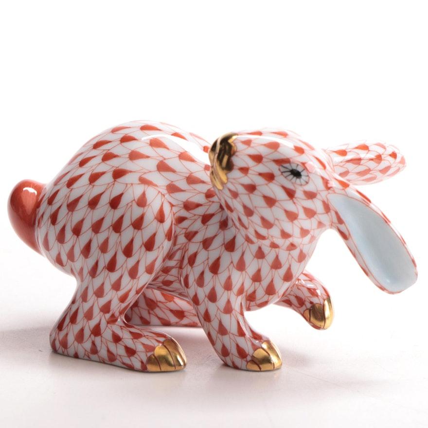 "Herend Rust Fishnet ""Running Rabbit"" Porcelain Figurine"