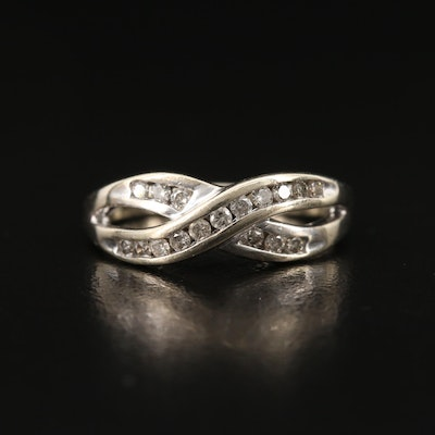 10K Channel Set Diamond Crossover Band