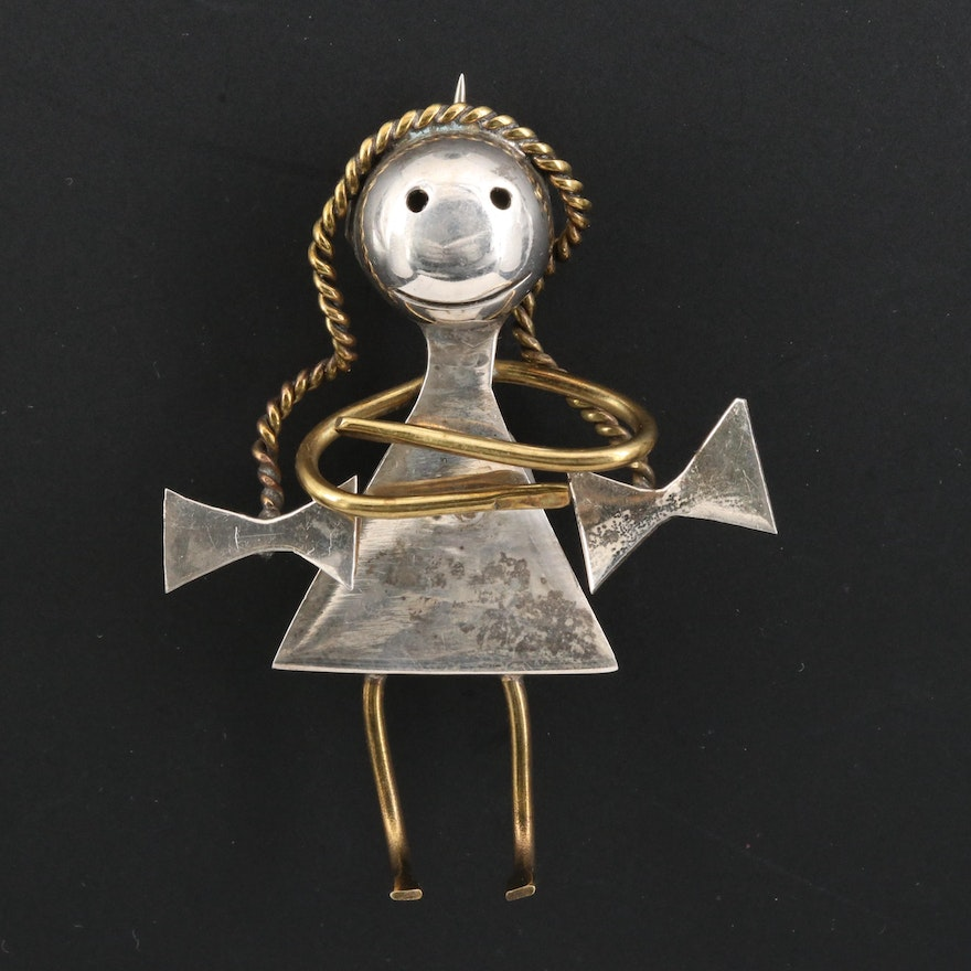 Signed Mexican Sterling Silver Girl with Pigtails Brooch