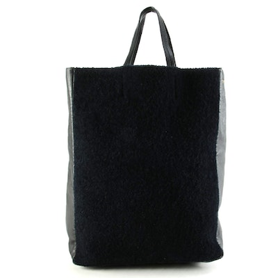Céline Vertical Cabas Tote Bag in Black Leather and Dyed Shearling Fur