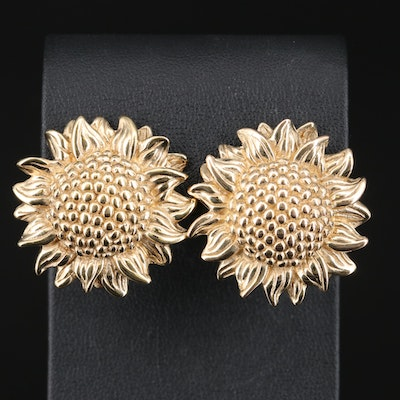 14K Sunflower Button Earrings