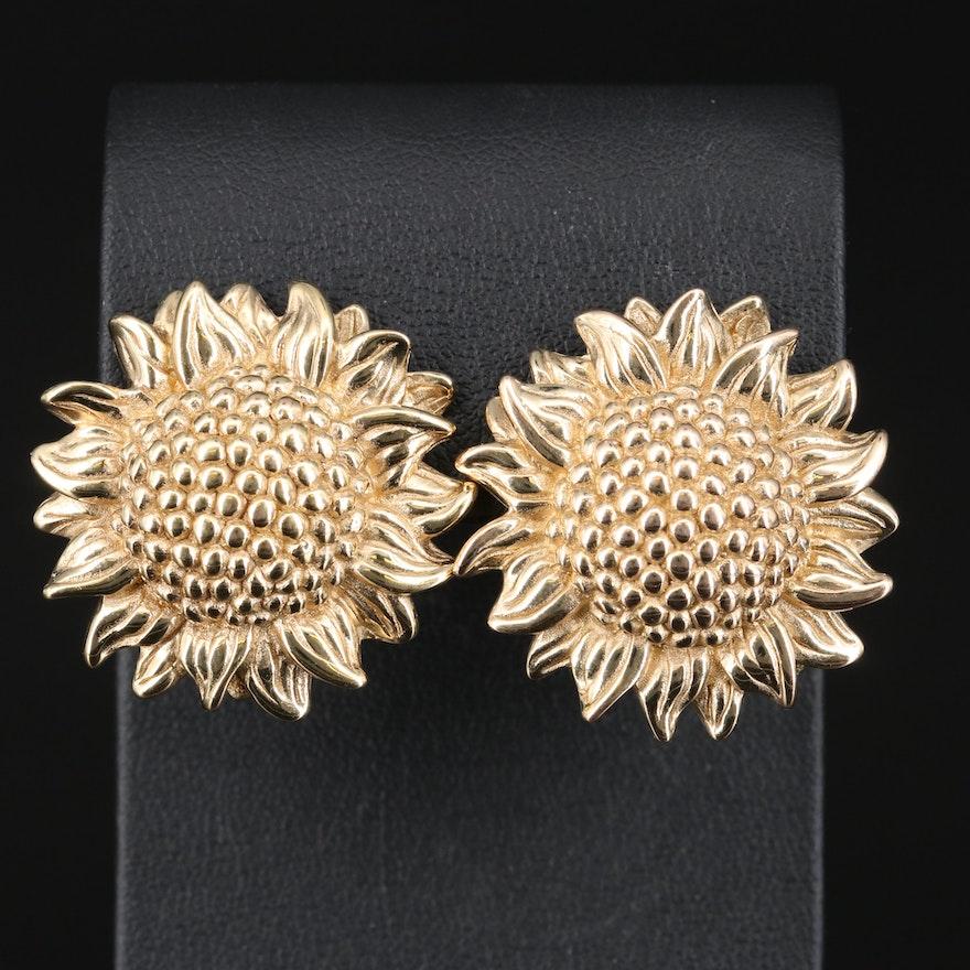 14K Sunflower Button Earrings