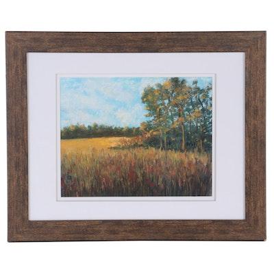 Meadow Landscape Pastel Drawing, 21st Century