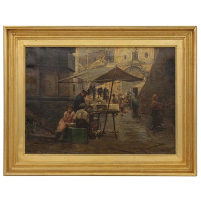 Giovanni Panza Oil Painting of European Street Scene, Mid-20th Century