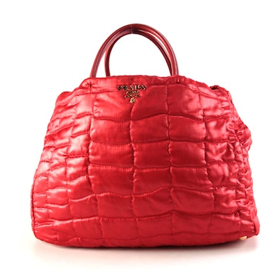 Prada Quilted Tessuto Impuntu Two-Way Tote in Red Nylon