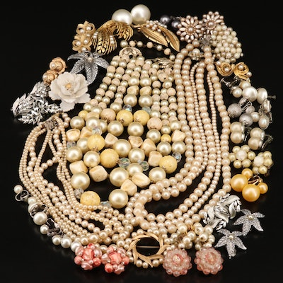 Vintage Necklace, Earrings and Brooches Including Crown Trifari
