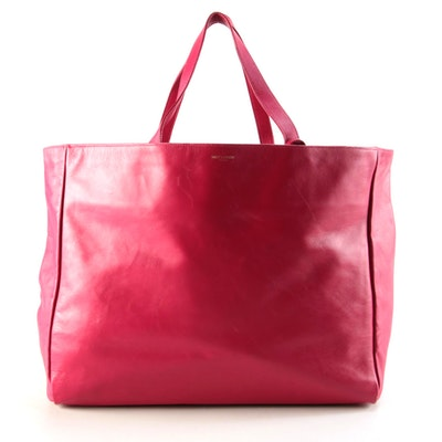 Yves Saint Laurent Reversible Shopper Tote in Fuchsia Leather and Suede