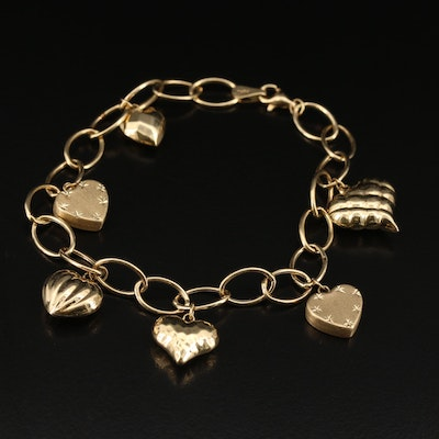 14K Charm Bracelet with Assorted Heart Charms