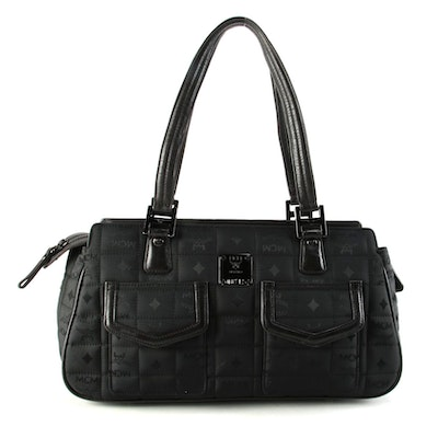 MCM Black Quilted Visetos Nylon and Leather Shoulder Bag