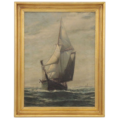 H.F. Garrison Oil Painting of Ship at Sea, 1905