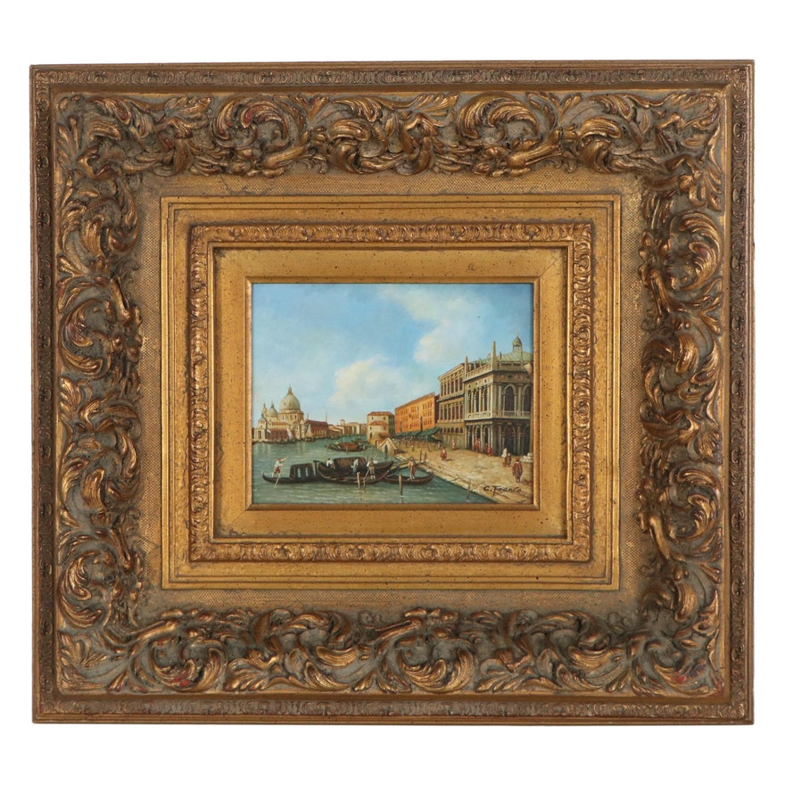 Oil Painting after Giovanni Antonio Canal of Grand Canal, Late 20th Century