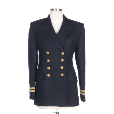 LAUREN Ralph Lauren Navy Blue Worsted Wool Military Style Double-Breasted Blazer