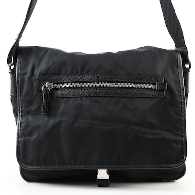 Prada Tessuto Messenger Bag in Black Nylon with Grained Leather Trim