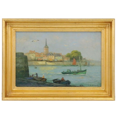 Lucien Bessonnat Oil Painting of European Harbor, Mid-20th Century