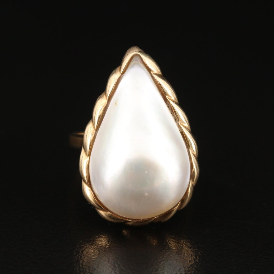 Vintage 14K Mabé Pearl Teardrop Ring