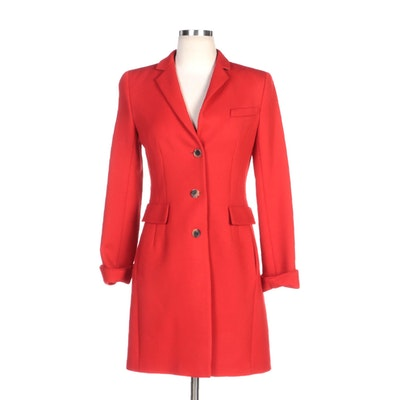 Akris Punto Red Wool Coat with Split Cuffs
