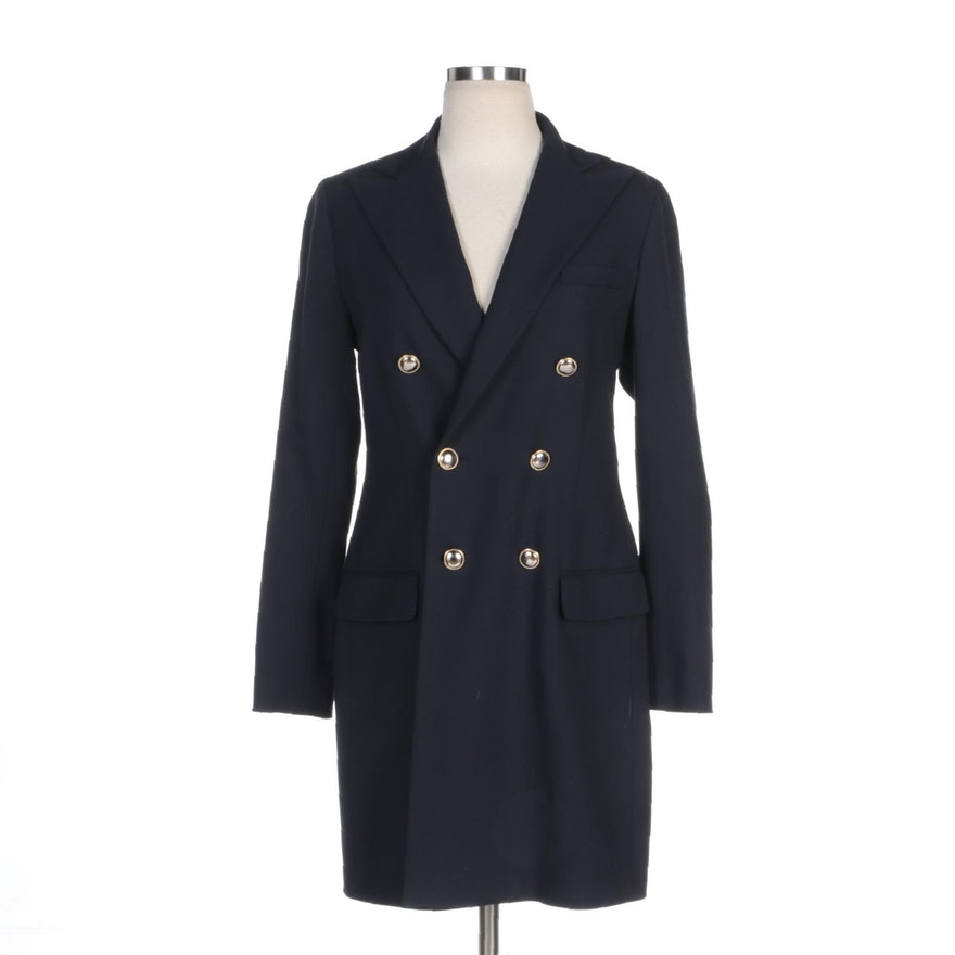 Polo Ralph Lauren Navy Blue Wool Blend Double-Breasted Coat