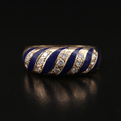 Vintage 14K Diamond and Enamel Tapered Dome Ring