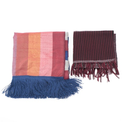 Handmade Plaid Fringed Scarves Including Raw Silk