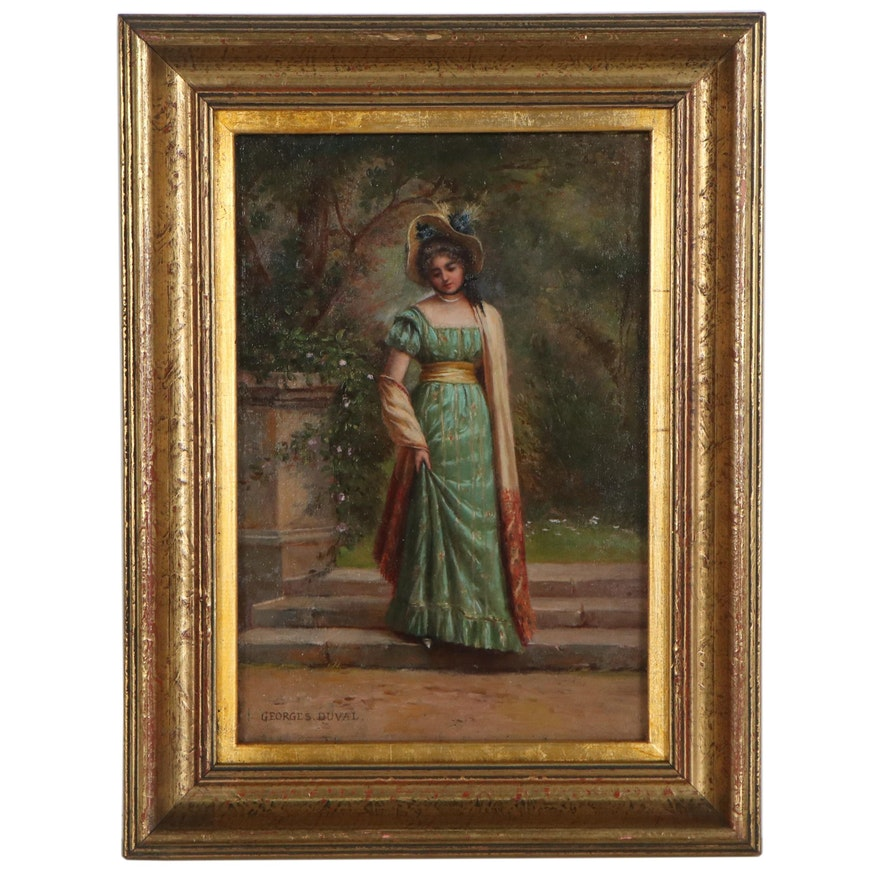 Georges Duval Leisure Genre Oil Painting , Late 20th Century