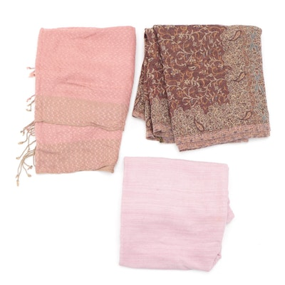 Pink Shawls with Tassel Edges and Burgundy Shaw with Fringe Edge