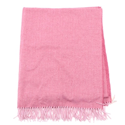 Magee 1866 Pink Lambswool/Cashmere Blend Herringbone Wrap Shawl