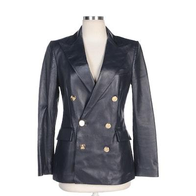 Ralph Lauren Purple Label Italian Leather Double-Breasted Jacket