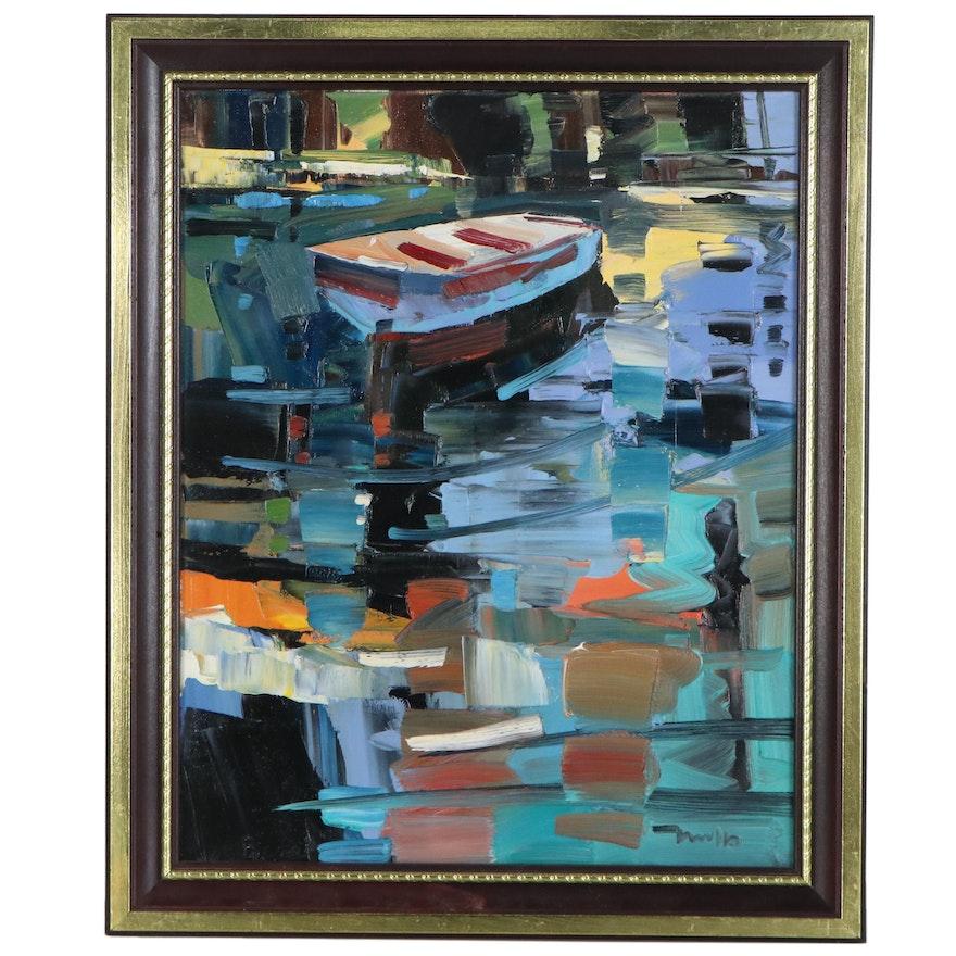 "Jose Trujillo Oil Painting ""Quietly Drifting Away,"" 2020"