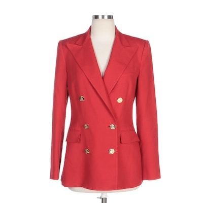 Ralph Lauren Purple Label Red Cashmere Double-Breasted Blazer