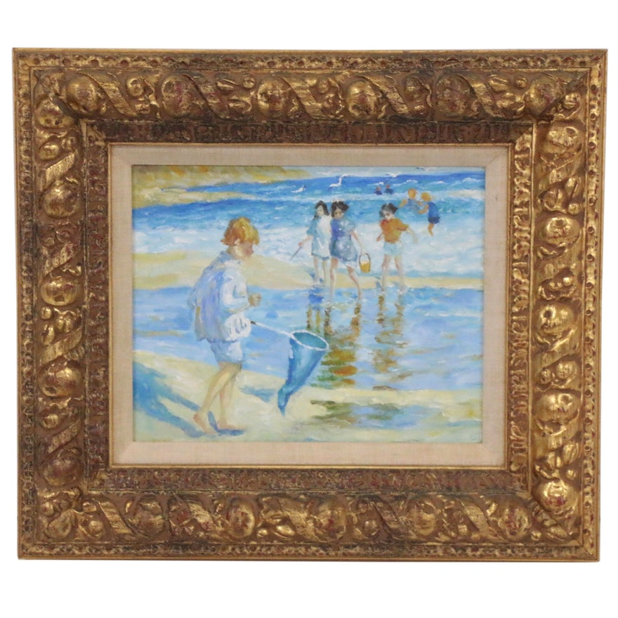 Oil Painting of Children at the Beach, Late 20th Century