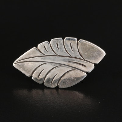 Signed Sterling Silver Stylized Leaf Brooch