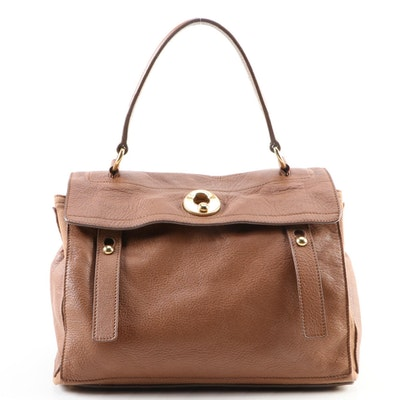 Yves Saint Laurent Muse Two Medium Bag in Brown Grained Leather and Canvas