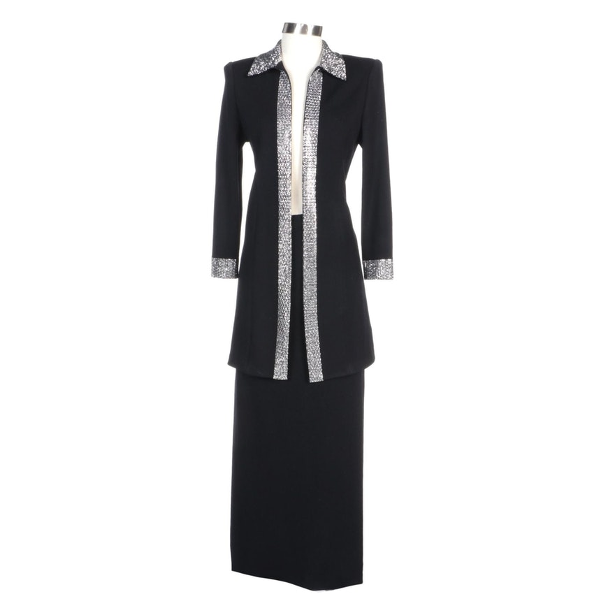 St. John Evening Embellished Long Jacket and St. John Basics Black Long Skirt
