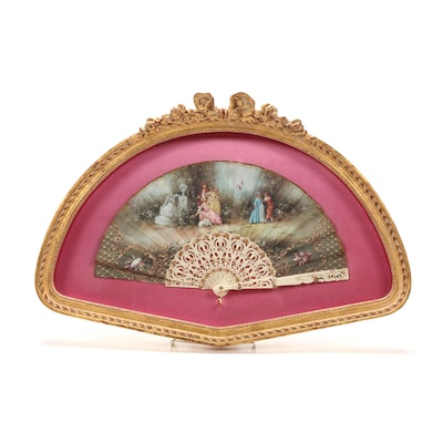 Victorian Style Celluloid Filigree Hand Fan in Custom Frame