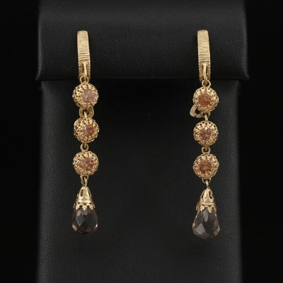 14K Smoky Quartz and Cubic Zirconia Drop Earrings
