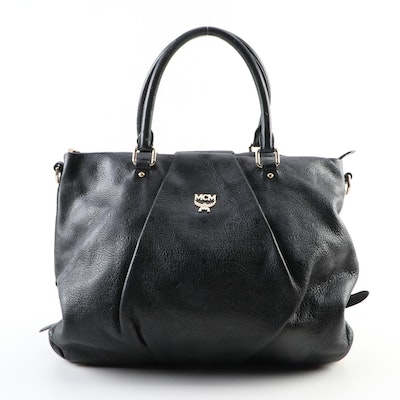 MCM Pleated Two-Way Tote Bag in Black Embossed Visetos Leather