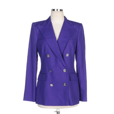 Ralph Lauren Purple Label Double-Breasted Purple Cashmere Jacket