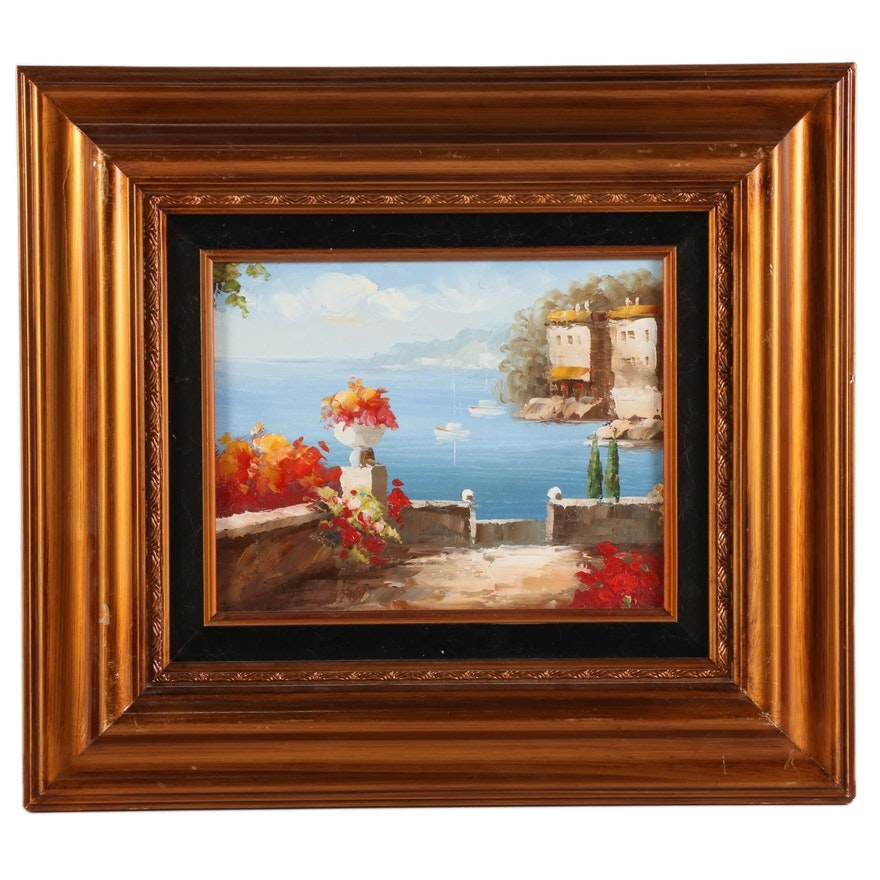 Mediterranean Inlet Seascape Oil Painting, 21st Century
