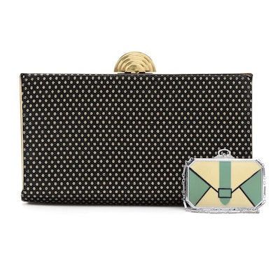 Enameled on Metal Dancer's Bag and Black and Gold Textile Clutch